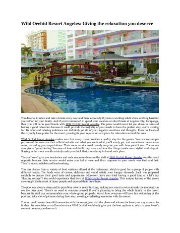 Wild Orchid Resort Angeles: Giving the relaxation you deserve