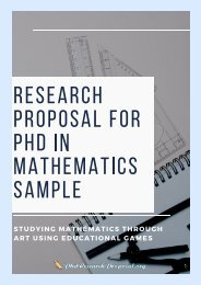 Sample Research Proposal for PhD in Mathematics
