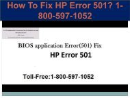 Call +1-800-597-1052 Fix HP Error 501 | For HP help