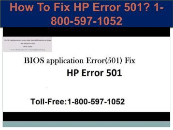 Call +1-800-597-1052 Fix HP Error 501 | For HP help