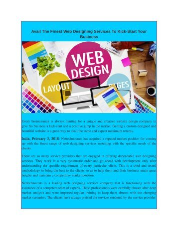 Avail The Finest Web Designing Services To Kick-Start Your Busines