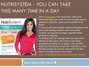 Nutrisystem - You Can Take This Many Time In A Day