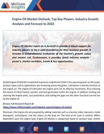 Engine Oil Market Outlook, Top Key Players, Industry Growth Analysis and Forecast to 2022
