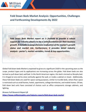 Fold Down Beds Market Analysis Opportunities, Challenges and Forthcoming Developments By 2022