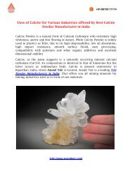 Uses of Calcite for Mining Industry offered
