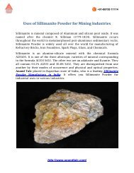Uses of sillimanite Powder for Mining Industries
