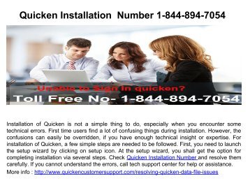 Quicken Installation Number 1-844-894-7054