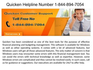 Quicken Helpline Number 1-844-894-7054