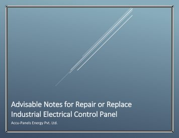 Advisable Notes for Repair or Replace Industrial Electrical Control Panel