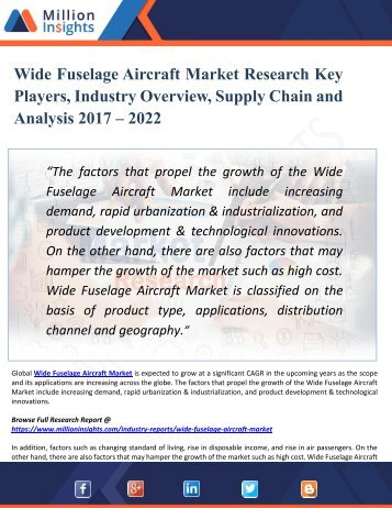 Wide Fuselage Aircraft Market Research Key Players, Industry Overview, Supply Chain and Analysis 2017 – 2022