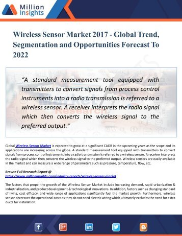 Wireless Sensor Industry:2018 Global Market Share, Demand, Trends, Revenue Analysis and Strategies