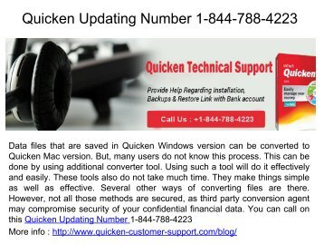 Quicken Updating Number 1-844-788-4223