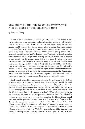 New light on the pre-1760 Coney Street (York) find of coins of the ...