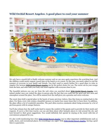 Wild Orchid Resort Angeles: A good place to cool your summer