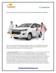 Hire a Shreeji Taxi- An Easy Way to Get to Your Destination in Udaipur