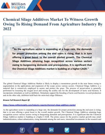 Chemical Silage Additives Market To Witness Growth Owing To Rising Demand From Agriculture Industry By 2022