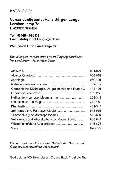 Occulta-Antiquariats-Katalog 1