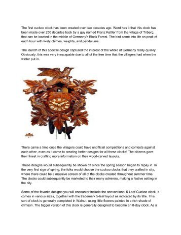 Black Forest Cuckoo Clocks - Origins of the German Cuckoo Clock