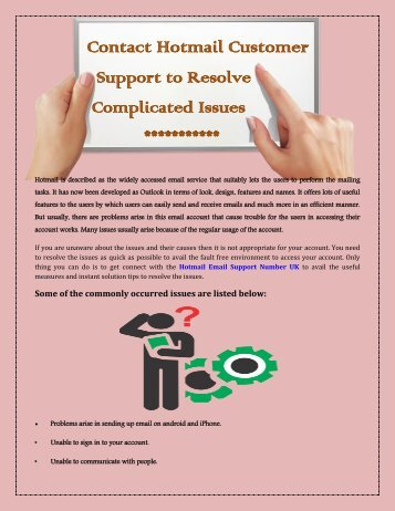Contact Hotmail Customer Support to Resolve Complicated Issues