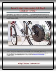 Is an E-bike Conversion Kit Right Solution for Me