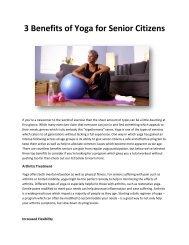 3 Benefits of Yoga for Senior Citizens