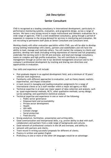 Job Description Senior Consultant - ITAD