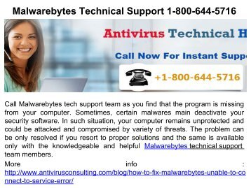 Malwarebytes Technical Support 1-800-644-5716