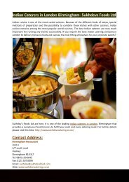 Indian Caterers in London Birmingham- Sukhdevs Foods Ltd