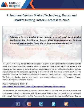 Pulmonary Devices Market Technology, Shares and Market Driving Factors Forecast to 2022