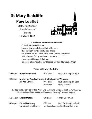 St Mary Redcliffe Church Pew Leaflet - March 11 2018