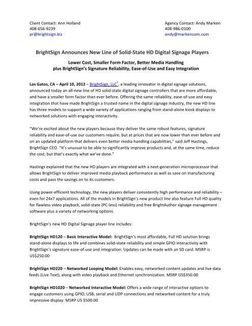 BrightSign Announces New Line of Solid-‐State HD Digital