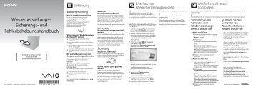 Sony VPCEE2E1E - VPCEE2E1E Guide de dépannage Allemand