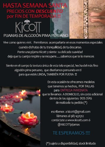 # 30 D Catálogo Pijamas Kicott Descuentos Marzo 2018