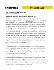 Caterpillar Introduces New Line of Gas Generator - Caterpillar Inc.
