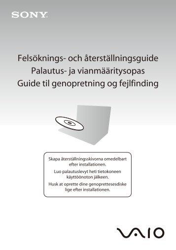Sony VPCZ11E7E - VPCZ11E7E Guide de dépannage Suédois
