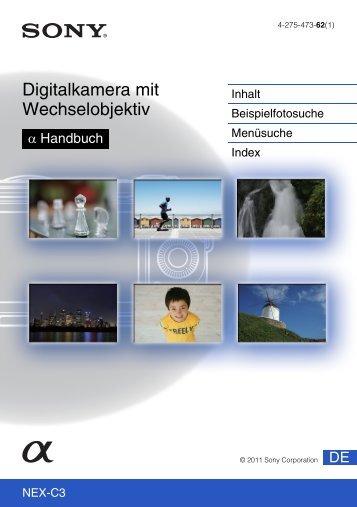 Sony NEX-C3D - NEX-C3D Consignes d'utilisation Allemand