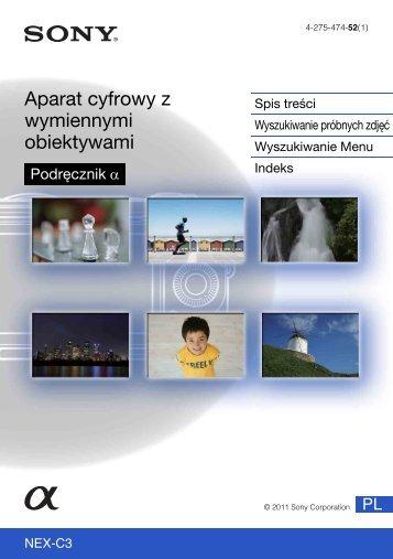 Sony NEX-C3D - NEX-C3D Consignes d'utilisation Polonais