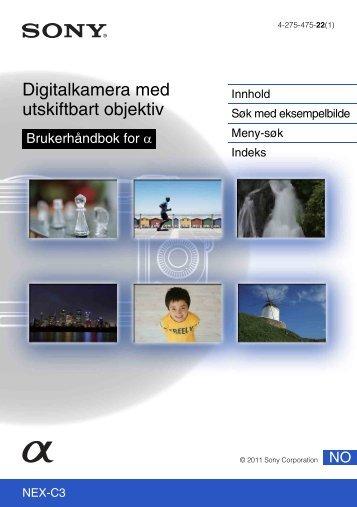 Sony NEX-C3D - NEX-C3D Consignes d'utilisation Norvégien