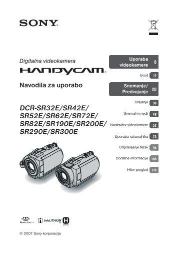 Sony DCR-SR190E - DCR-SR190E Mode d'emploi Slovénien
