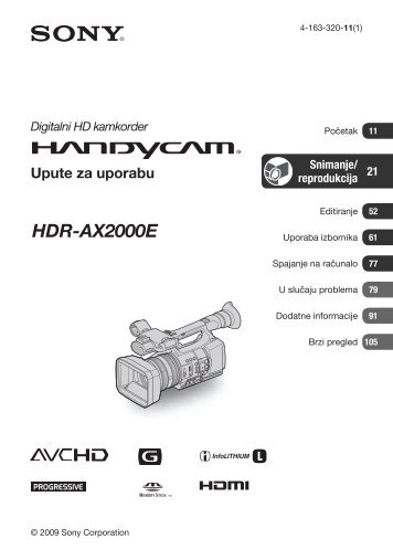 Sony HDR-AX2000E - HDR-AX2000E Consignes d'utilisation Croate