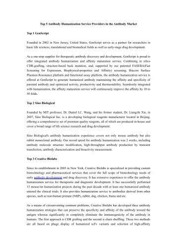 (kinja.com) Top 5 Antibody Humanization Service Providers in the Antibody Market