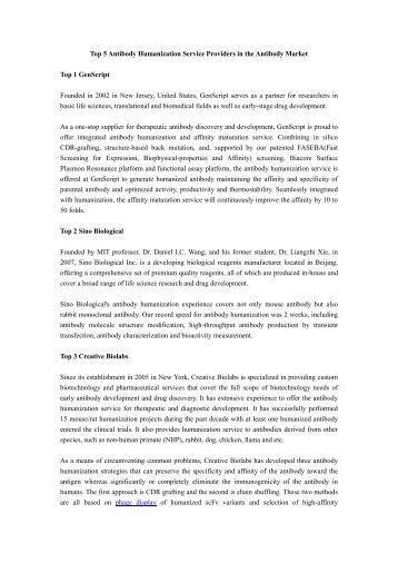 (medicalmingle.com) Top 5 Antibody Humanization Service Providers in the Antibody Market