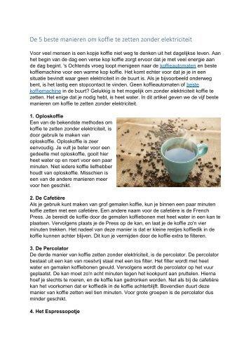 De 5 beste manieren om koffie te zetten zonder elektriciteit