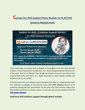 AVG Support Phone Number 1-855-675-4245