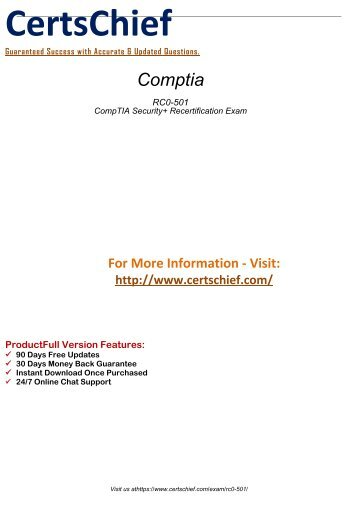 Comptia RC0-501 Exams Study Guides 2018