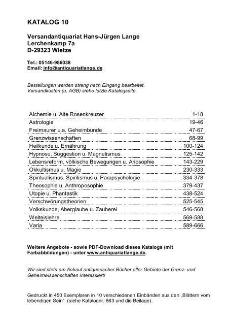 Occulta-Antiquariats-Katalog 10
