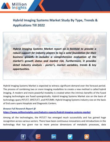 Hybrid Imaging Systems Market Study By Type, Trends & Applications Till 2022