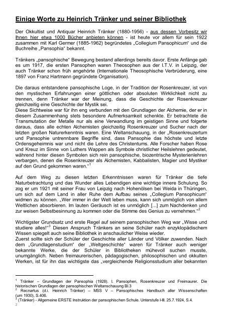 Occulta-Antiquariats-Katalog 13.1 Heinrich Tränker