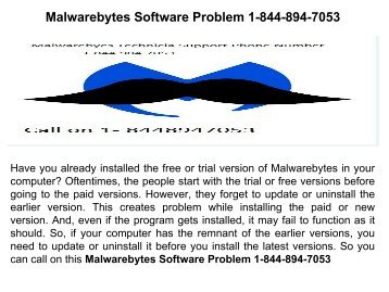 Malwarebytes Software Problem 1-844-894-7053