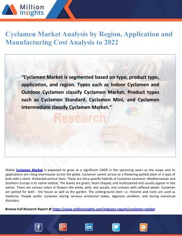 Cyclamen Market Analysis by Region, Application and Manufacturing Cost Analysis to 2022